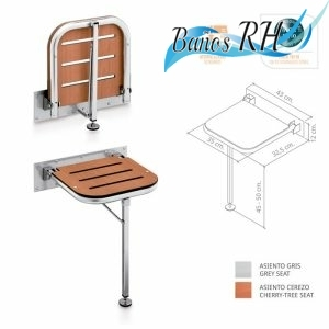 Asiento abatible para plato de ducha reducidos con pata regulable en acero inoxidable